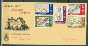BERMUDA 1979 MAP  SET #380-84 on FDC