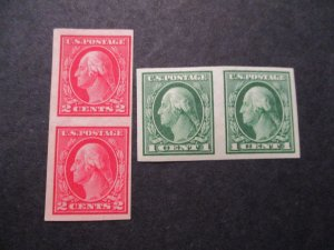 US Bureau Stamp Issue S#408/409, Imperfs Pairs Mint OG/NG 1914