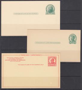 US Sc UX27a/UX43 mint 1914-1952 Postal Cards, 9 different, crisp & VF