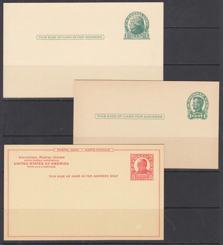 US Sc UX27a/UX43 mint 1914-1952 Postal Cards, 9 different, crisp & VF