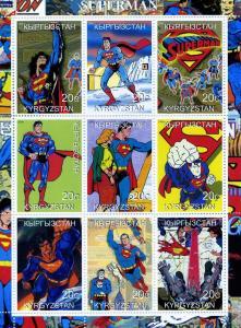 Kyrgyzstan 2000 SUPERMAN Sheet (9) Perforated Mint (NH)