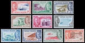 Cayman Islands Scott 122-131 (1950) Mint H F-VF, CV $25.20 M
