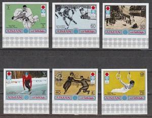 Ajman, Mi cat. 762-767 B. Sapporo Winter Olympics, IMPERF issue. ^