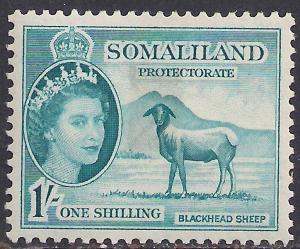 Somaliland 1953 - 58 QE2 1/-d Light Blue MM SG 144 ( R1030 )