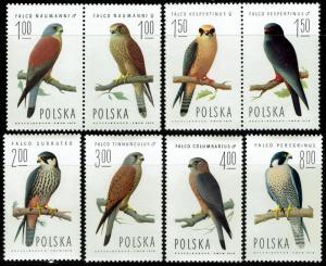 Poland #2074-2081  MNH - Birds Falcons (1975)