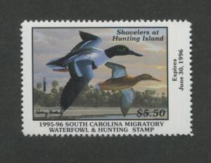 SOUTH CAROLINA #15 1995 STATE DUCK STAMP SHOVELERS/LIGHTHOUSE by Rodney Huckaby