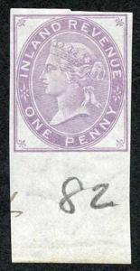 1d Lilac Postal Fiscal SGF20-22 Imprimatur Plate 82