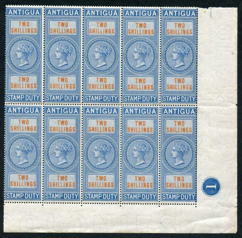 Antigua 1870 2/- Stamp Duty Plate Block of 10 U/M (some very light ageing)