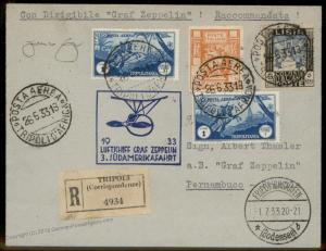 Tripolitania 1933 Libya Italy Graf Zeppelin 3rd SAF Si219 Longhi 772 Cover 92172