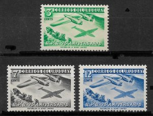 Uruguay 1950, 75th Anniversary, UPU issue,Sc # 598-600,VF Mint Hinged*OG (MB-2)
