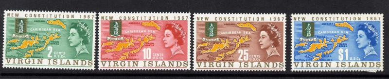 Virgin Islands 179-82 MNH Map, New Consitution, Crest