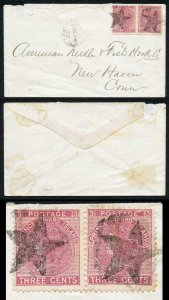PRINCE EDWARD Is SG45 1872 3c rose perf 12.5-13 PAIR STAR PMK on Cover