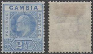 Gambia 1904 2½d bright blue and ultramarine MH