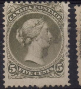Canada Sc 26 1875 5c  large Queen Victoria stamp used