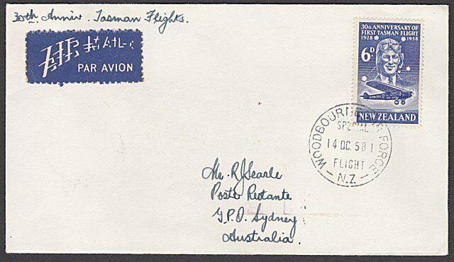 NEW ZEALAND TO AUSTRALIA 1958 30th Anniv flight cover - Woodburn Air Force.27729
