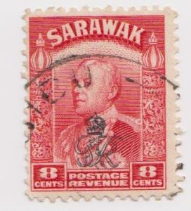 Sarawak -Scott 164 - Crown Overprint- 1947 - Used - Single 8c Stamp