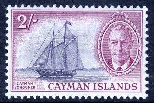 CAYMAN ISLANDS — SCOTT 132 (SG 145) — 1950 2/- KGVI SCHOONER — MH — SCV $11.50