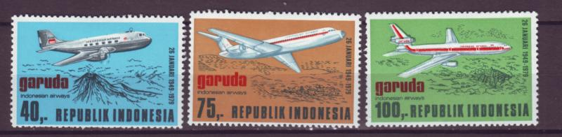 J21089 Jlstamps 1979 indonesia mh set #1039-41 airplanes