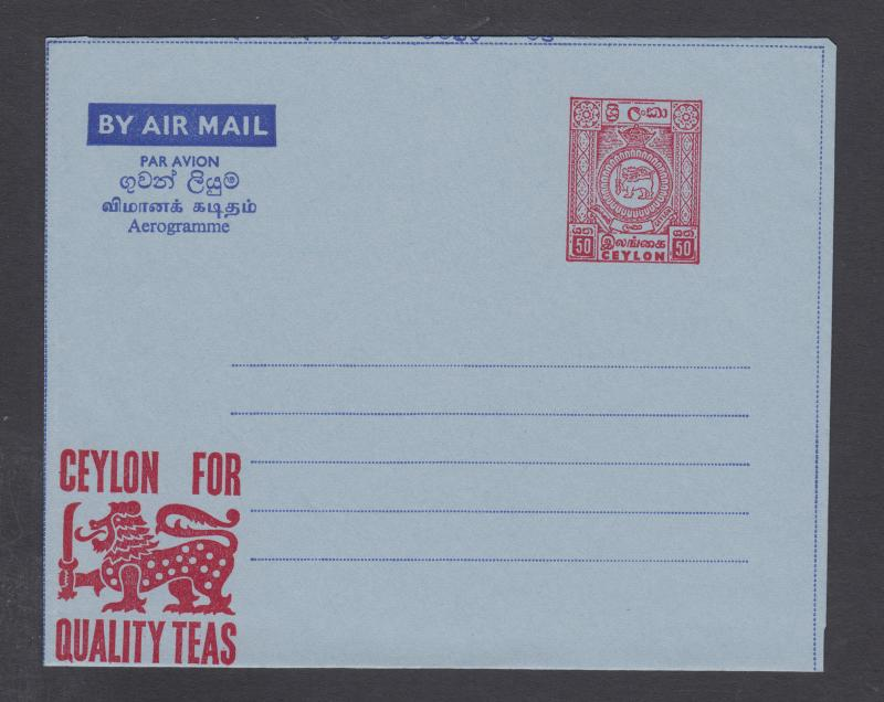 Ceylon H&G FG26, mint. 1969 50c Coat-of-Arms aerogramme, Quality Teas imprint