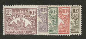 Madagascar Scott J8-J12 MH*  ppostage due stamps good start to a Great set