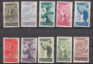 J27553 1945 romania set mh #b279-88 sports, a couple spots on stamps