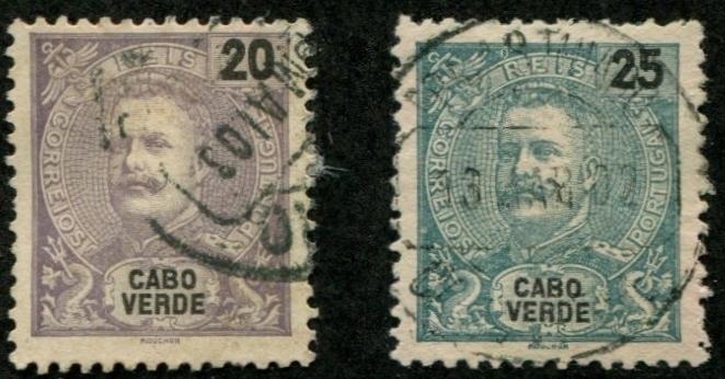 Cape Verde SC# 41-2  King Carlos, 20r 25r, Used