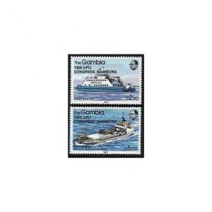 Gambia 523-524,MNH.Michel 529-530. 19th UPU Congress,1984.Ships overprinted.