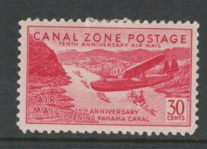 Canal Zone 1939 Pan American Clipper Landing 30c Scott # C19 MH