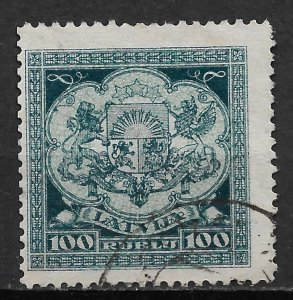 1922 Latvia 112 Coat of Arms 100r used.