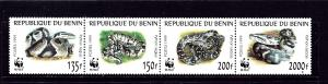 Benin 1086 MNH 1999 Snakes (W.W.F.) strip of 4 (been folded)