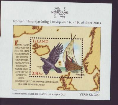 Iceland Sc 988 2003 NORDIA 2003 Bird Ship Map stamp sheet mint NH