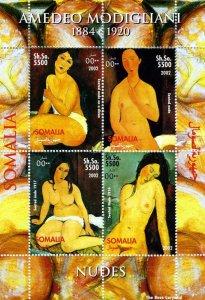 Somalia 2002 Amedeo Modigliani Nudes Paintings 4v Mint S/S. (#09)