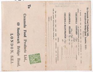 KK240 1920s GB REPLY CARD Creamola Food Services London Card {samwells-covers}