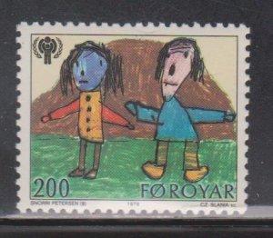 FAROE ISLANDS - Scott # 47 MNH  - Child's Drawing