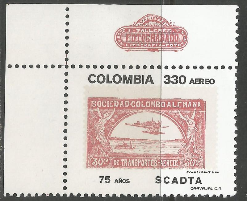 COLOMBIA C866 MNH AIRPLANE R6-125