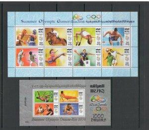 IRAQ: Sc. 2007-08 /**SUMMER OLYMPICS- RIO** / Sheet of 8 &  SS - MNH.
