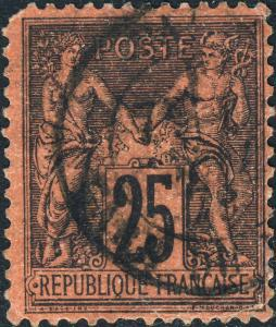 FRANCE - 1878 - Yv.91 / Mi.74 25c black/red Peace & Commerce (Sage) - Used _