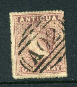 Antigua 1863 1d rosy mauve SG 5 rough perf used