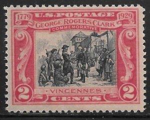USA 651: 2c George Rogers Clark, F-VF, NH, Mint