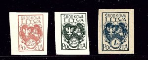Central Lithuania 1-3 MH 1920-21 Imperf issues