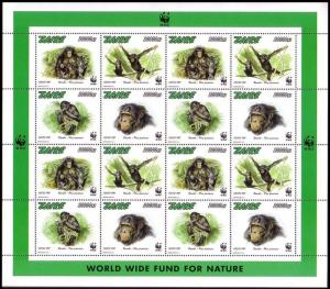 Zaire WWF Bonobo Sheetlet of 4 sets MI#1339-1342 SC#1466 a-d