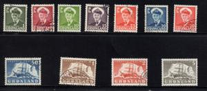 Greenland Sc 28-38 1950 Frederik IX & ship long stamp set used