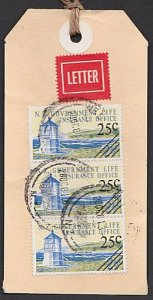 NEW ZEALAND 1987 Govt Life Dept 75c rate Lighthouse franking on parcel tag..F194