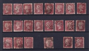 Great Britain a used lot of QV 1d reds plates 147-170 but see description