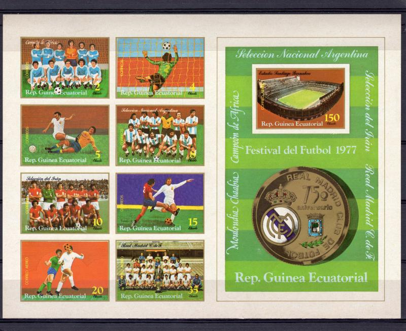 Equatorial Guinea 1977 Real Madrid 75th.Anniversary Sheetlet(8+1) Imperforated