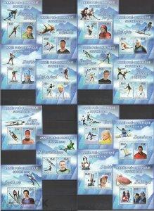 PE739-753 2013 DJIBOUTI SPORT WINTER OLYMPIC GAMES SOCHI 2014 15BL MNH