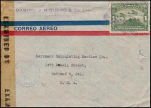 Nicaragua 1943 Censored Commercial Cover Managua to Oakland California USA