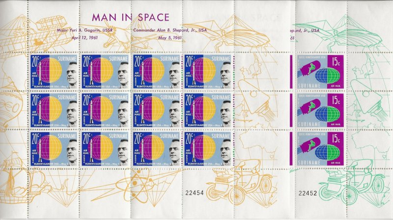 Suriname 1961 Man in Space sheets of 12   MNH
