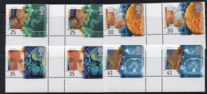 Great Britain Sc 1577-80 1994 Europa stamp set gutter pairs mint NH
