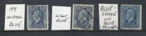 CANADA KGV 5ct BLUE MEDALLION ISSUE SCOTT 199 + vars USED (BS18199)